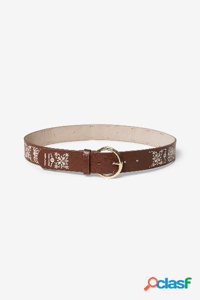 Cinturón de cuero marrón y floral - BROWN - 95