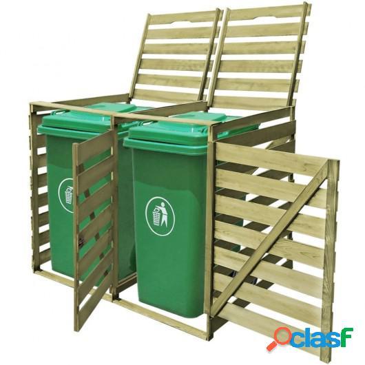 Cobertizo doble contenedor de basura madera impregnada FSC
