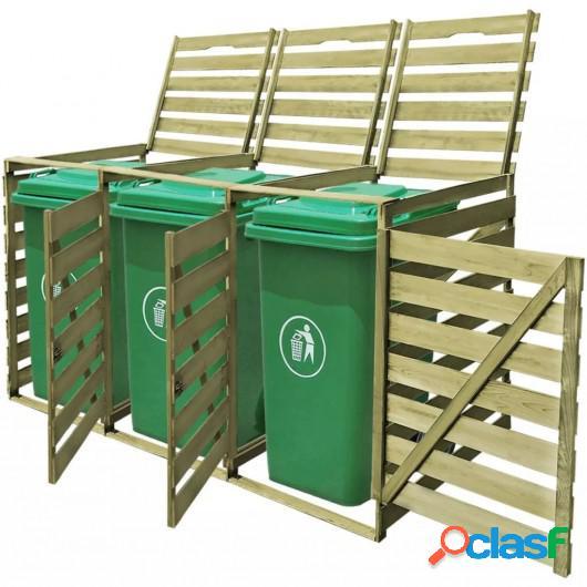 Cobertizo triple contenedor basura madera impregnada FSC