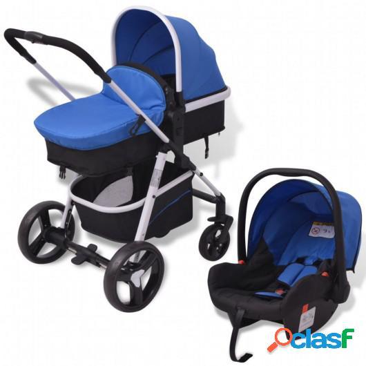 Cochecito de bebé 3 en 1 azul y negro aluminio