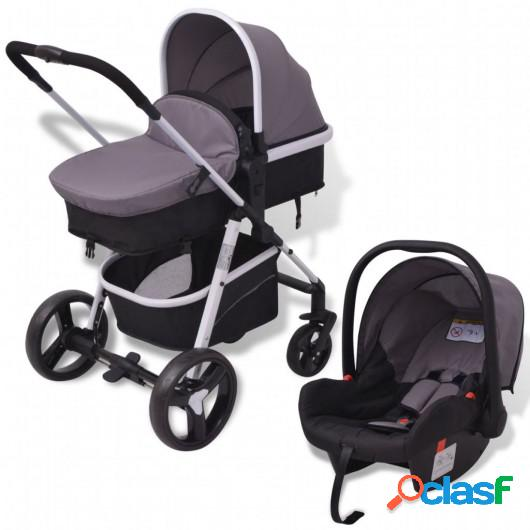 Cochecito de bebé 3 en 1 gris y negro aluminio
