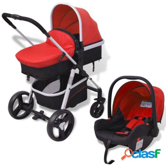 Cochecito de bebé 3 en 1 rojo y negro aluminio