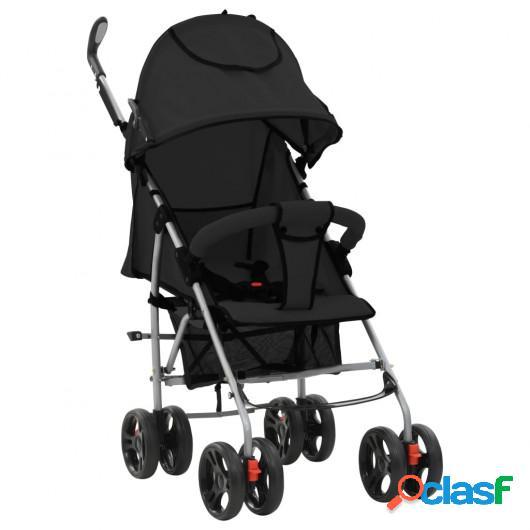 Cochecito sillita paseo de bebé 2 en 1 negro acero