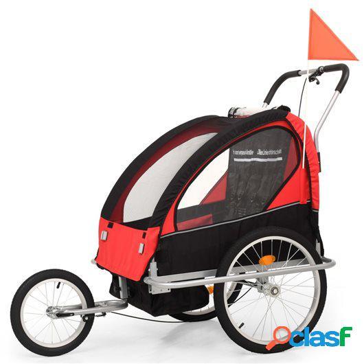 Cochecito y remolque de bicicleta para niños 2-en-1 negro