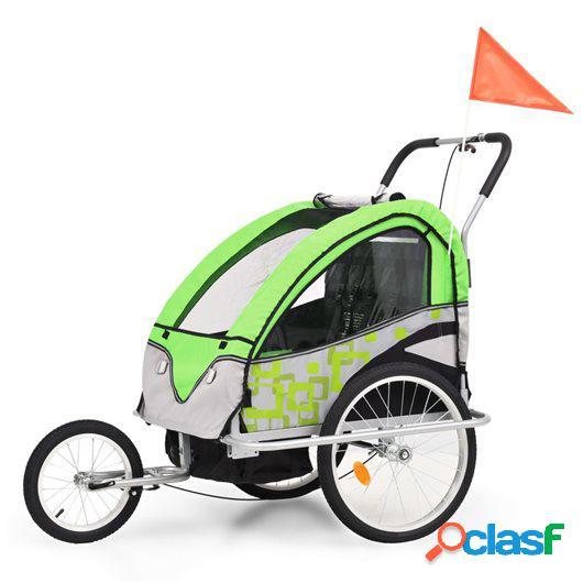 Cochecito y remolque de bicicleta para niños 2-en-1 verde