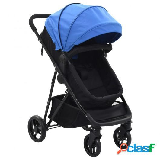 Cochecito/Silla de bebé 2 en 1 acero azul y negro