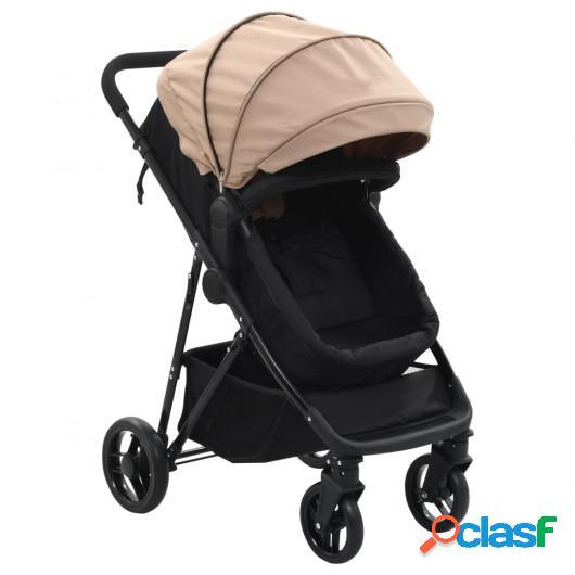 Cochecito/Silla de bebé 2 en 1 acero gris taupe y negro