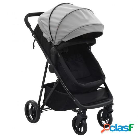 Cochecito/Silla de bebé 2 en 1 acero gris y negro
