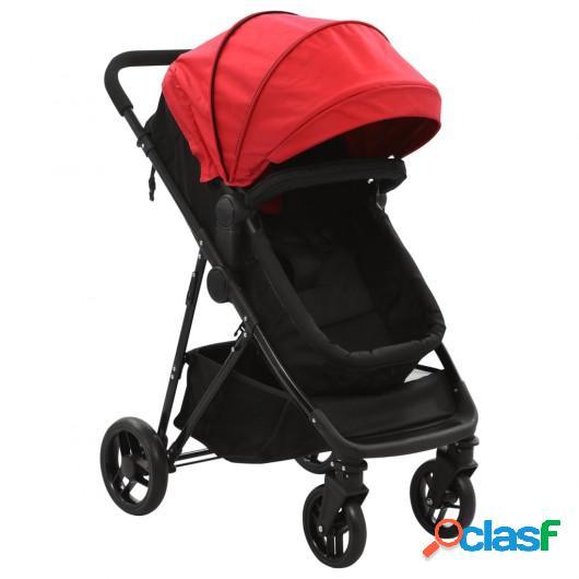 Cochecito/Silla de bebé 2 en 1 acero rojo y negro