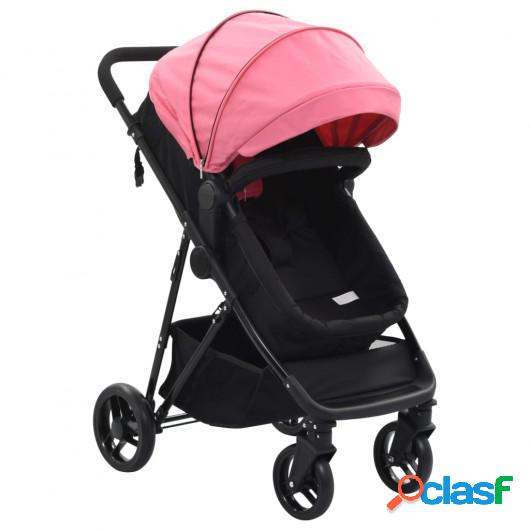 Cochecito/Silla de bebé 2 en 1 acero rosa y negro