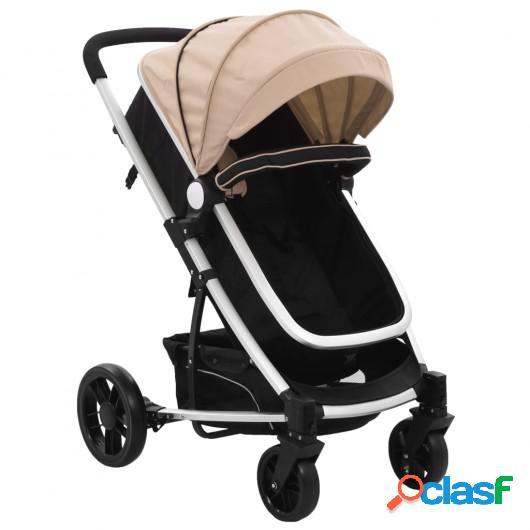 Cochecito/Silla de bebé 2 en 1 aluminio gris taupe y negro