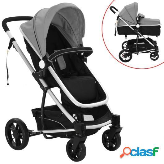 Cochecito/Silla de bebé 2 en 1 aluminio gris y negro