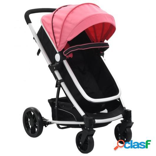 Cochecito/Silla de bebé 2 en 1 aluminio rosa y negro