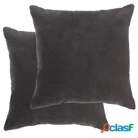 Cojines 2 uds terciopelo de algodón gris antracita 45x45 cm