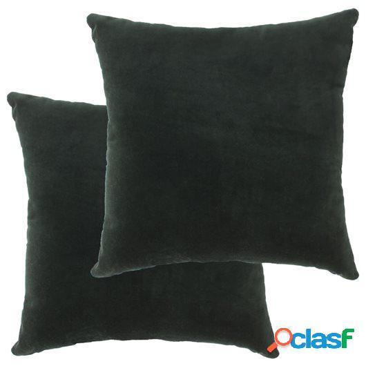 Cojines 2 unidades terciopelo de algodón verde 45x45 cm