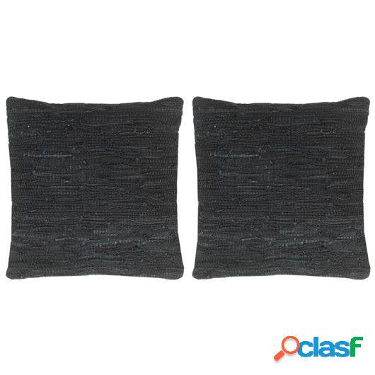 Cojines Chindi 2 unidades cuero y algodón negro 45x45 cm