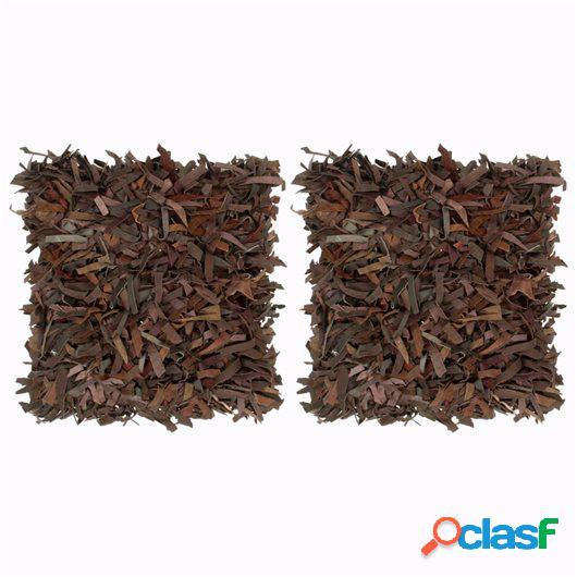 Cojines con flecos 2 uds cuero y algodón marrón 45x45 cm