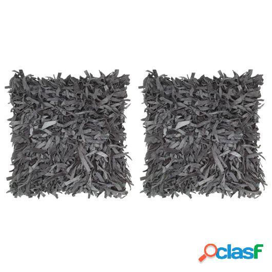 Cojines con flecos 2 unidades cuero y algodón gris 45x45 cm