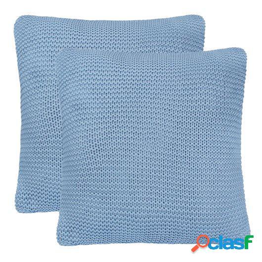 Cojines de punto grueso 2 unidades 45x45 cm azul claro