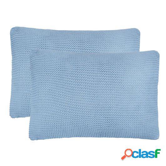 Cojines de punto grueso 2 unidades 60x40 cm azul claro