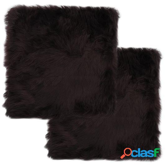 Cojines de sillas 2 uds piel de oveja auténtica marrón