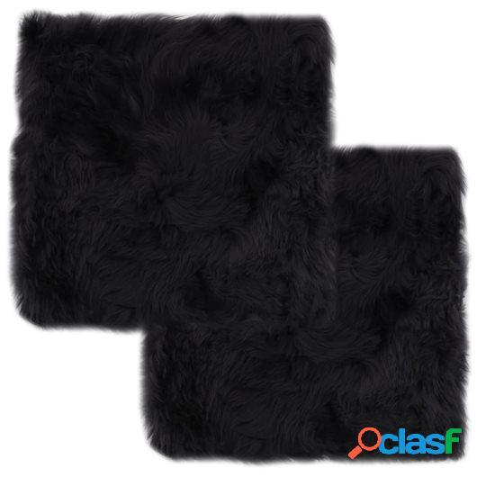 Cojines de sillas 2 uds piel de oveja real gris oscuro 40x40