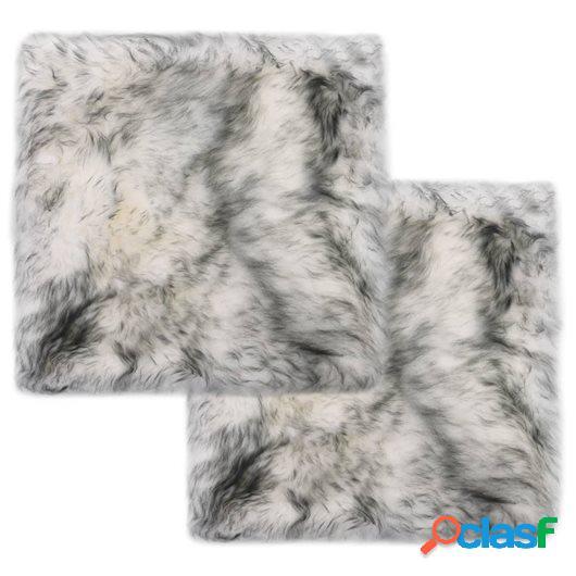 Cojines de sillas 2 uds piel oveja genuina mezcla gris 40x40