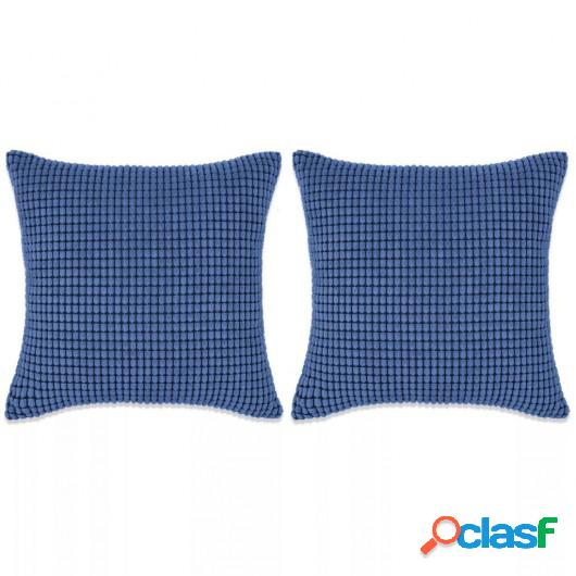 Cojines de terciopelo 60x60 cm azul 2 unidades