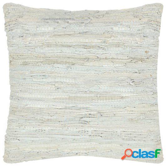 Cojín Chindi de cuero y algodón gris claro 60x60 cm