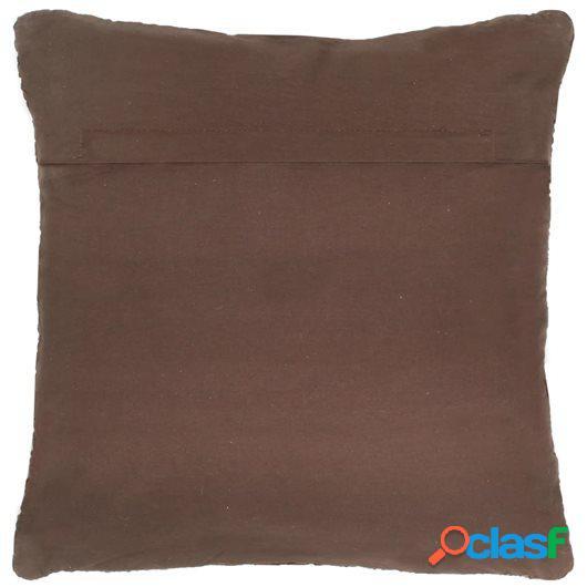 Cojín Chindi de cuero y algodón marrón 60x60 cm