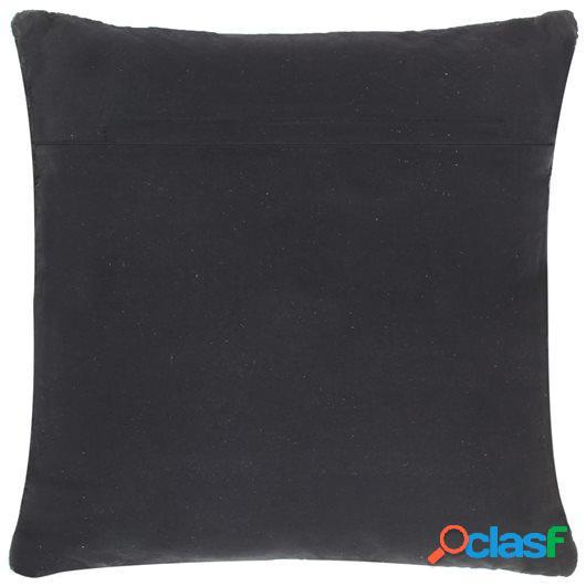 Cojín Chindi de cuero y algodón negro 60x60 cm