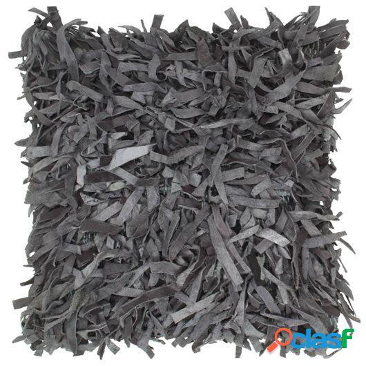Cojín con flecos de cuero y algodón gris 60x60 cm