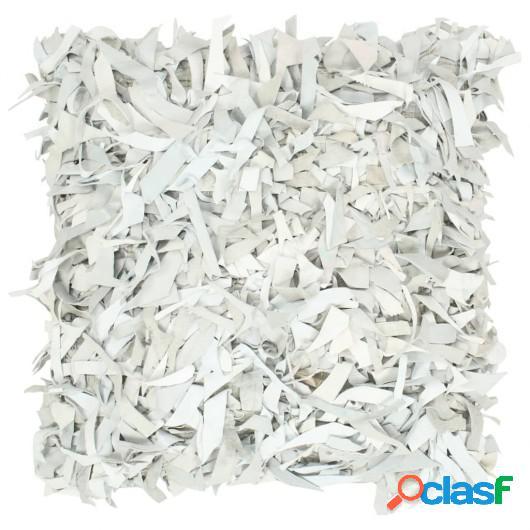 Cojín con flecos de cuero y algodón gris claro 60x60 cm