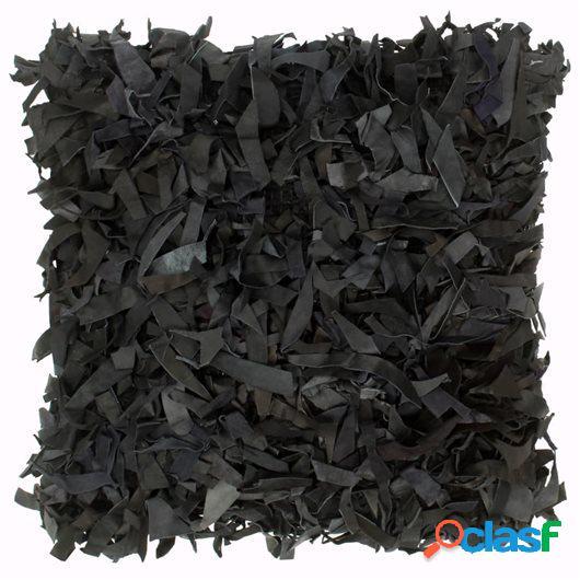 Cojín con flecos de cuero y algodón negro 60x60 cm