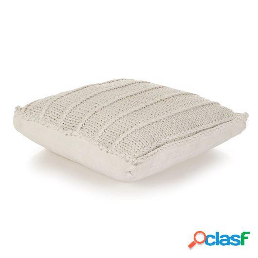 Cojín cuadrado de suelo algodón tejido 60x60 cm blanco