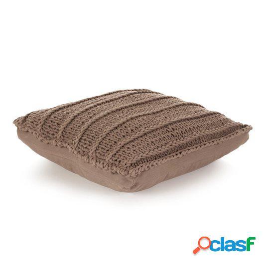 Cojín cuadrado de suelo algodón tejido 60x60 cm marrón