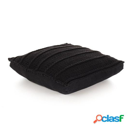 Cojín cuadrado de suelo algodón tejido 60x60 cm negro