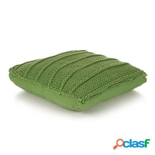 Cojín cuadrado de suelo algodón tejido 60x60 cm verde