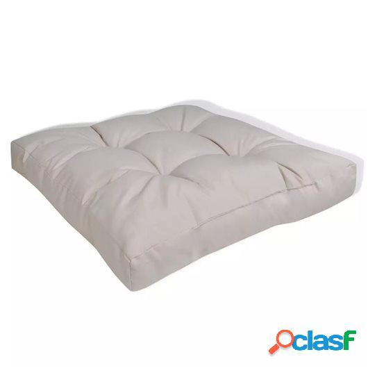 Cojín de asiento tapizado blanco arena 60x60x10 cm
