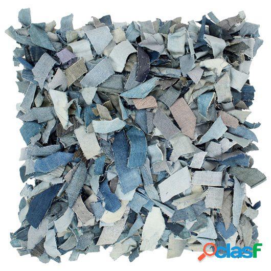 Cojín vaquero con flecos de cuero y algodón azul 60x60 cm
