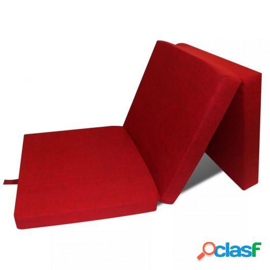 Colchón de espuma plegable 190 x 70 x 9 cm rojo