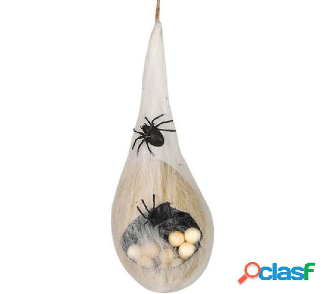 Colgante con Huevos de Araña con Telaraña y Luz de 40 cm