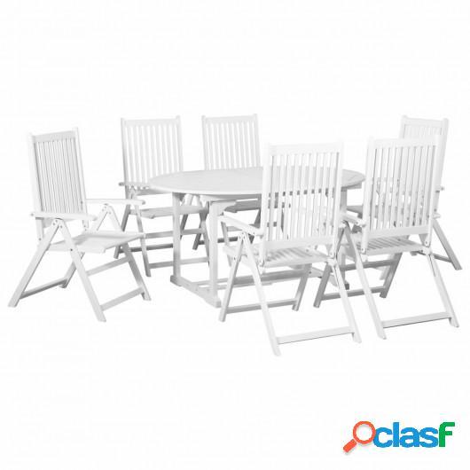 Comedor de jardín 7 pzas de madera blanca con mesa