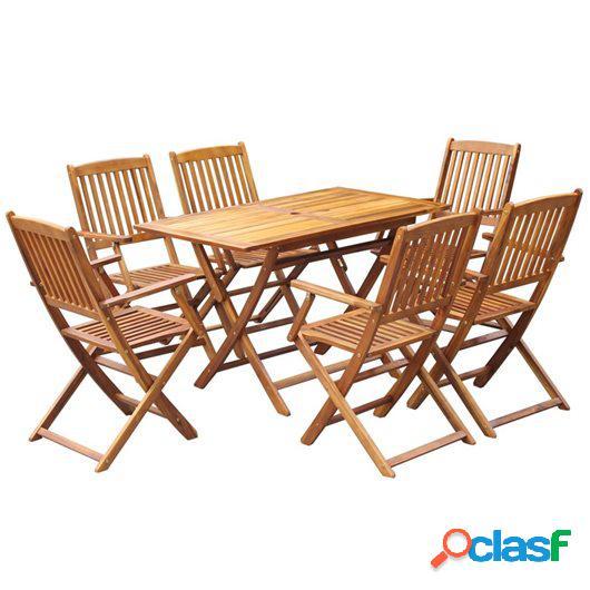 Comedor de jardín plegable 7 piezas de madera maciza de