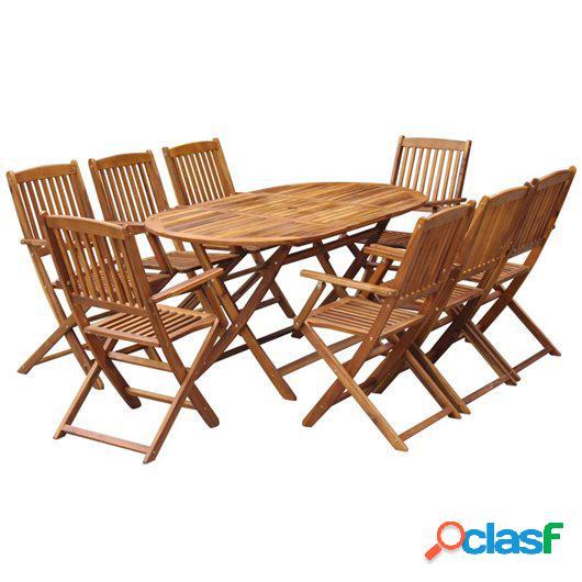 Comedor de jardín plegable 9 piezas de madera maciza de