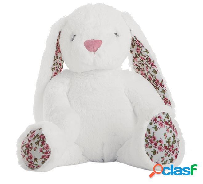 Conejo Blanco de Peluche con Flores de 40 cm en caja
