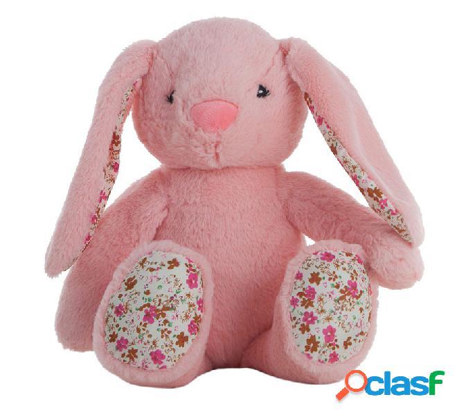 Conejo Rosa de Peluche con Flores de 40 cm en caja