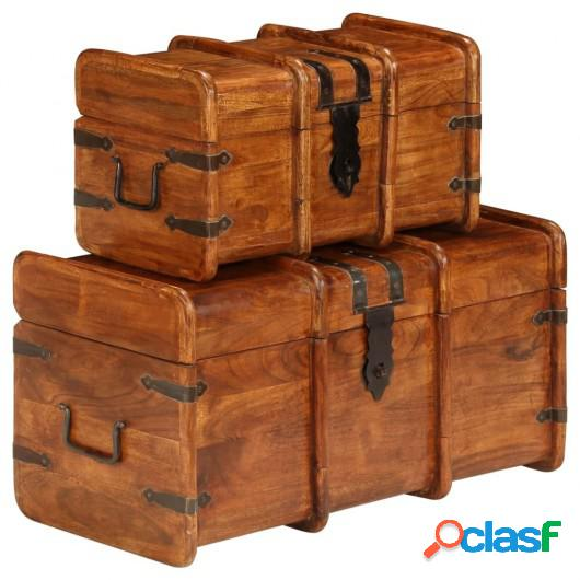 Conjunto 2 baúles de almacenaje madera acacia acabado