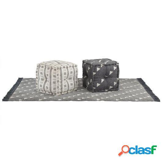 Conjunto de alfombra y pufs 3 piezas de tela