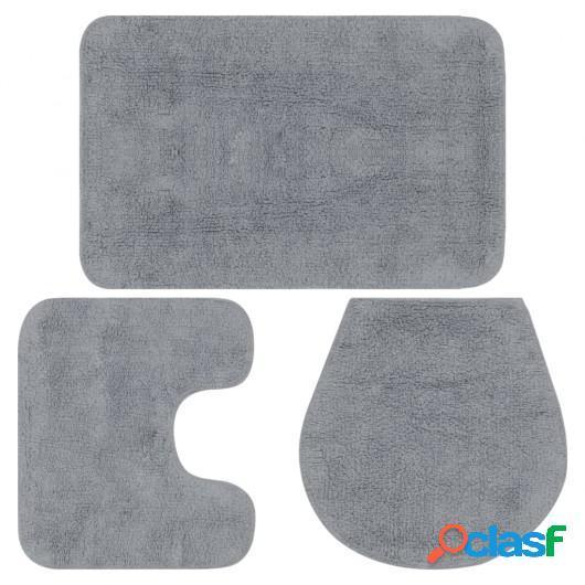 Conjunto de alfombrillas de baño de tela 3 piezas gris